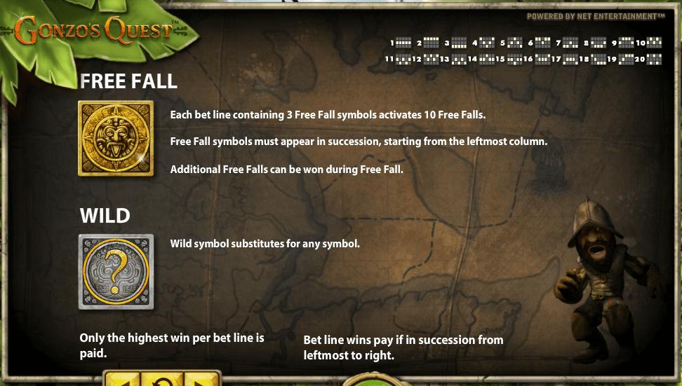 Gonzos Quest Gokkast NetEnt Free Falls