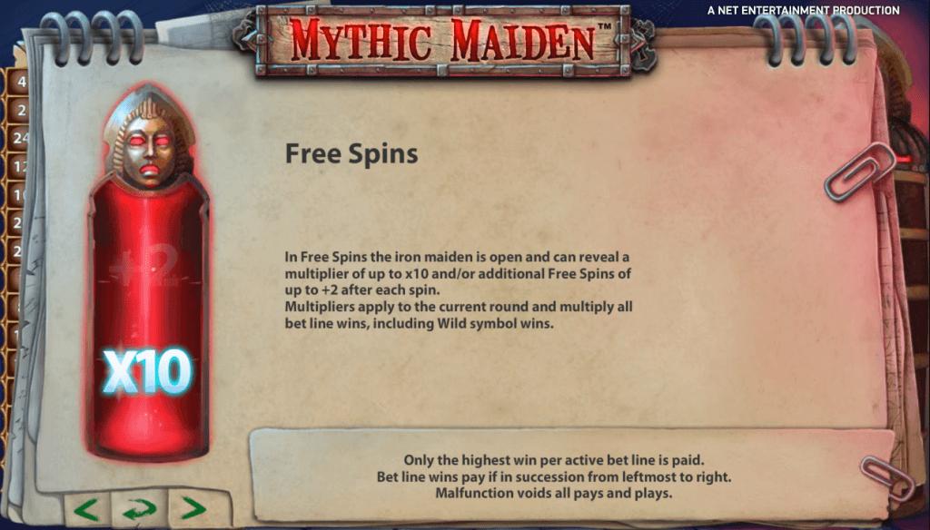 Mythic Maiden Gokkast Netent Free Spins