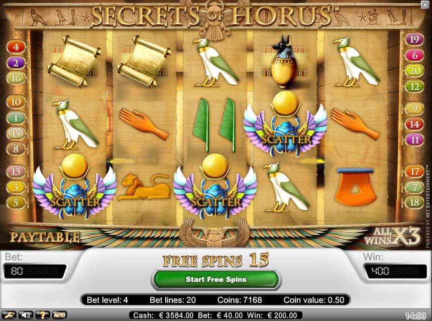 Secrets of Horus Gokkast Netent Free Spins
