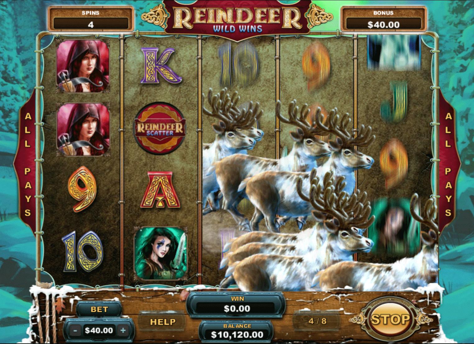 reindeer wild wins free spins slot