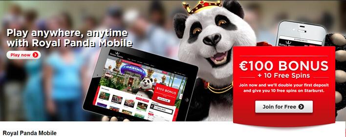 Royal-Panda-Mobiele-Casino-Welkomstbonus-€100-gratis-en-10-gratis-spins
