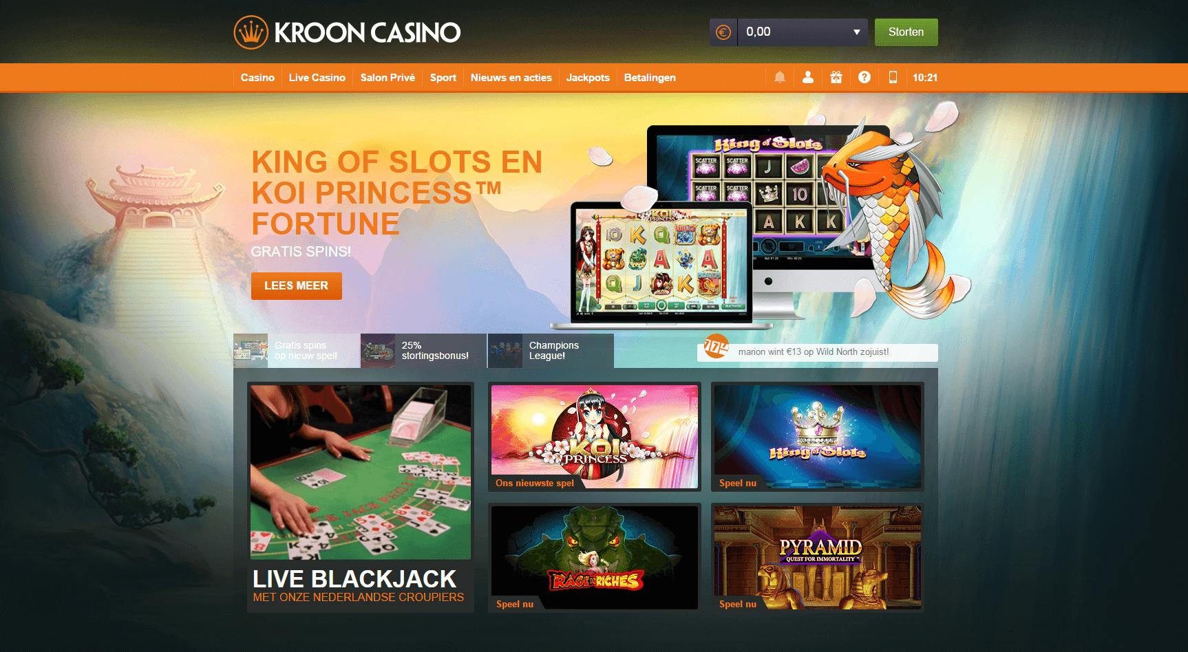 Kroon review Welkomstpagina