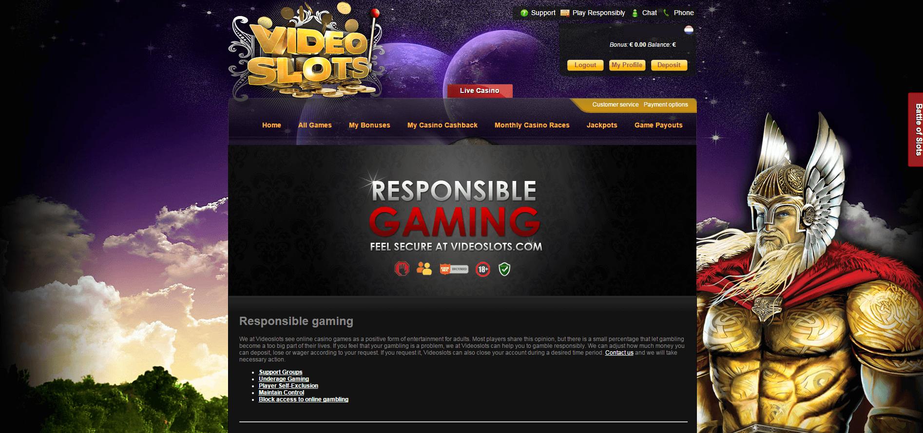 Videoslots.com NetEnt Live Casino Support
