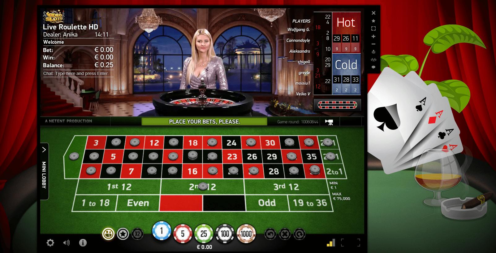 Videoslots.com NetEnt Live Casino VIP