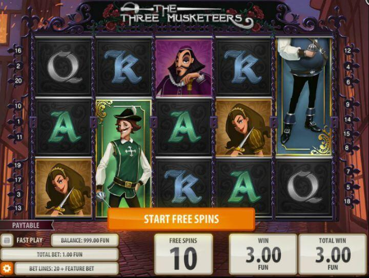 The Three Musketeerd Gokkast Free Spins