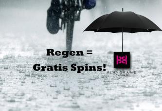 Het regent gratis spins bij PlayGrand Casino als het regent!