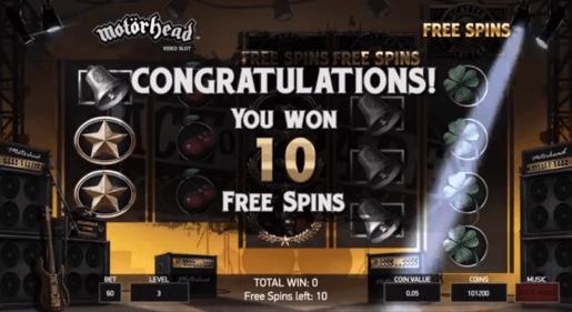 Motorhead NetEnt Free Spins Feature