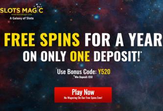 Ontvang één jaar lang gratis spins zonder vereiste inzet bij Slots Magic!